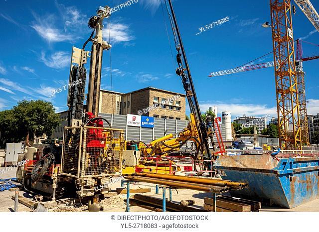 Paris, France, Construction SIte, New Metro Line No. 14, Porte de Clichy