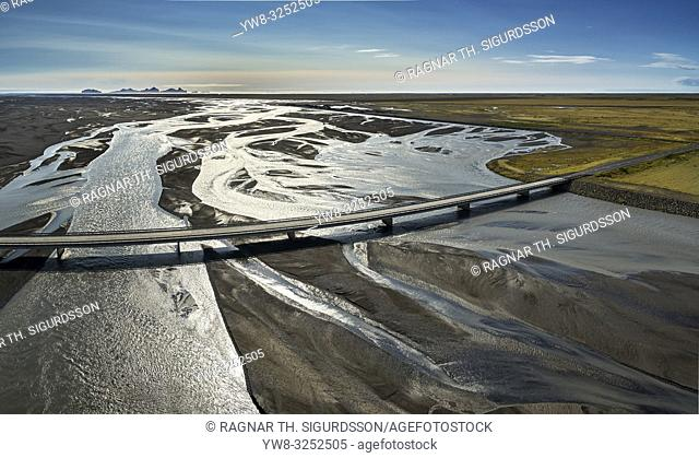 Markarfljotsbru bridge, Markarfljot river, Iceland