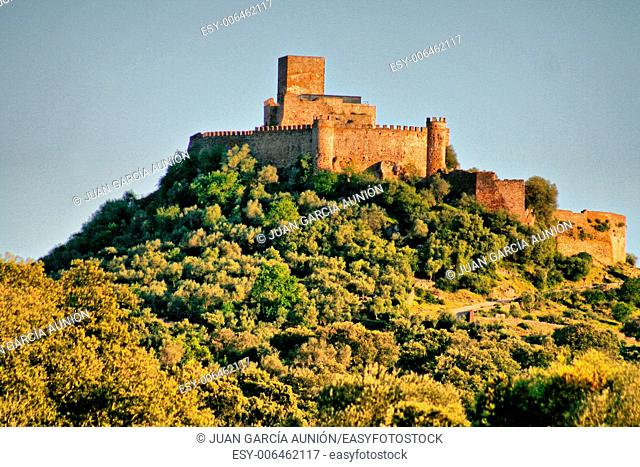 Alconchel castle from Alor mountains, Extremadura, Spain