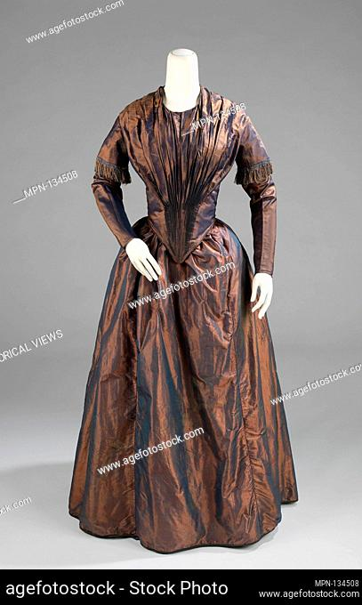 Afternoon dress. Date: ca. 1845; Culture: American; Medium: silk, cotton; Credit Line: Brooklyn Museum Costume Collection at the museum