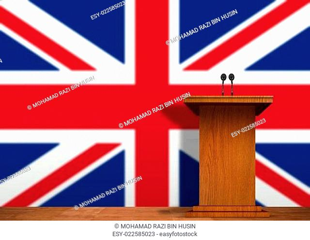 Podium and country flag