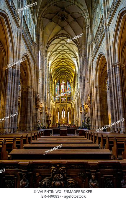 Chancel, apse, Gothic St. Vitus Cathedral, St. Vitus Cathedral, Indoors, Prague Castle, Hradcany, Prague, Bohemia, Czech Republic