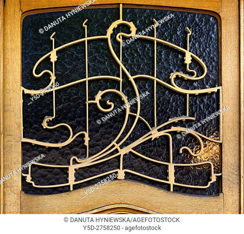 architectural detail part of entrance door - Art Nouveau Victor Horta's own house and atelier designed in late 1890s, together with three other town houses -...