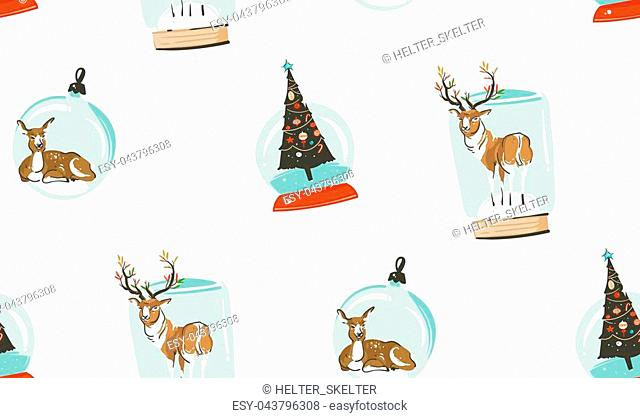 Hand drawn vector abstract Merry Christmas and Happy New Year time cartoon illustrations seamless pattern with deer,reindeer and xmas tree in glass snow globe...