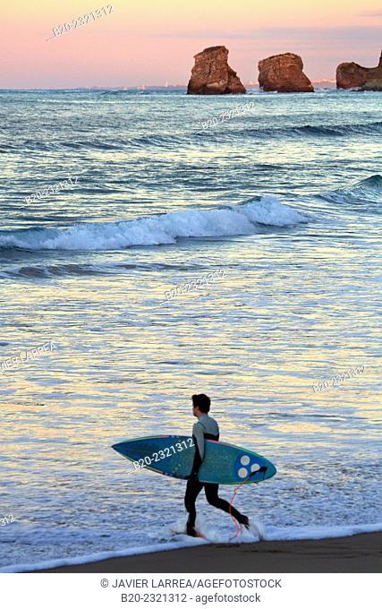 Surf. Beach. Hendaye. Aquitaine. Pyrenees Atlantiques. France