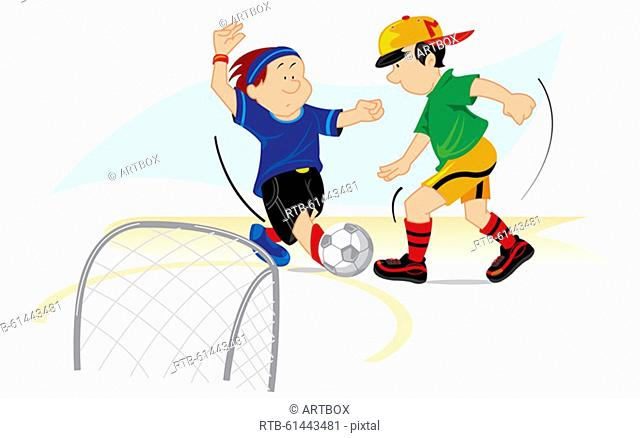 Side profile of two boys playing soccer