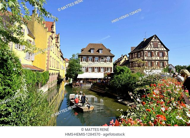 France, Haut Rhin, Alsace Wine Route, Colmar, La Petite Venise district, traditional half timbered houses