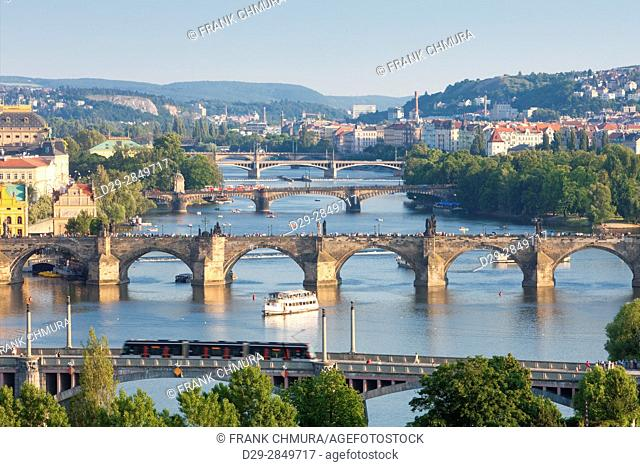 Czech Republic, Prague - Bridges over Vltava River and Boat Traffic