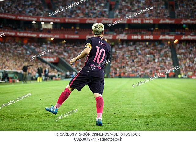 Lionel Messi, Leo, FC Barcelona player, in action during a Spanish League match between Athletic Club Bilbao - FC Barcelona Spanish League 2016-08-28