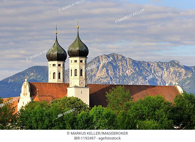 Kloster Benediktbeuern monastery in the morning light, district of Bad Toelz-Wolfratshausen, Bavaria, Germany, Europe