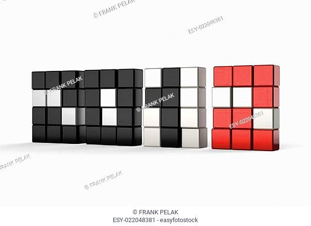 2012 in 3d blockart single wall black &amp red