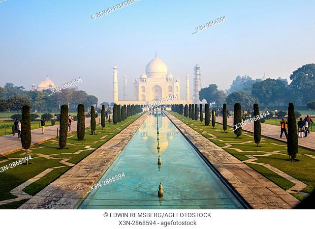 View of the Taj Mahal from one of the property's formal gardens, located in Agra, India