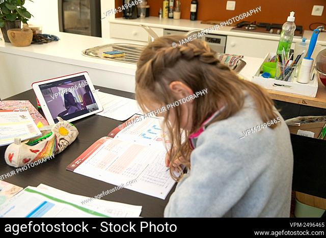 Illustration picture shows a child doing homework with the Microsoft Teams software in Gent, Monday 20 April 2020. Belgium is in its sixth week of confinement...
