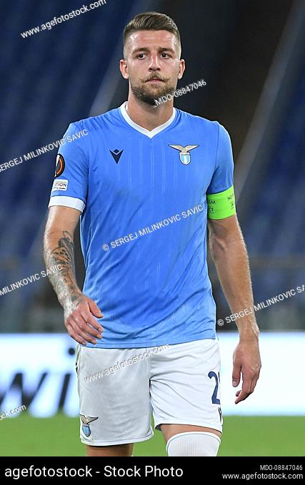 The Footballer of Lazio Sergej Milinkovic Savic during the match Lazio-Lokomotiv Moscow at the Olympic Stadium. Rome (Italy), September 30th, 2021