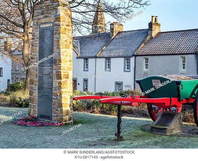 War Memorial and Old Cart at Cross Wynd Falkland Fife Scotland