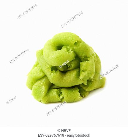 Pile of wasabi paste isolated over the white background