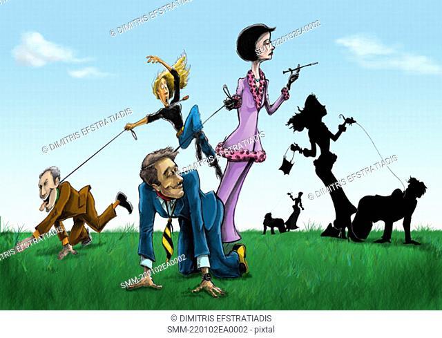 Women 'walking' their men on a leash
