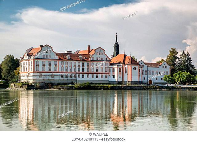 Neuhaus Monastery at the river Inn, Bavaria, Germany