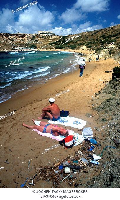 MLT, Malta: dirty sand beach