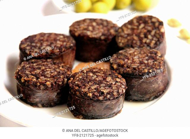 Rice morcilla on plate, typical sausage of Spain