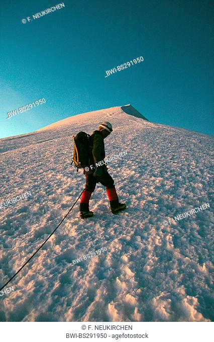 mountaineer climbing to the illumani peak, Bolivia, Andes