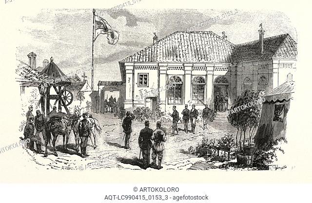 THE TURCO SERVIAN WAR: PRINCE MILAN'S HEAD-QUARTERS AT PARACHIN, ENGRAVING 1876