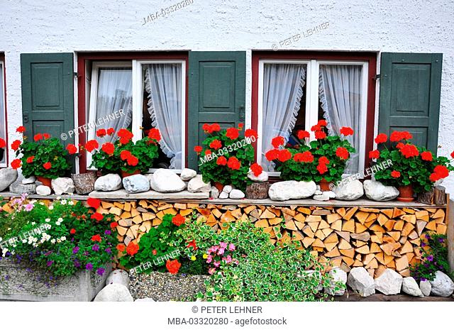 Germany, Bavaria, Isar valley, Mittenwald, flower window