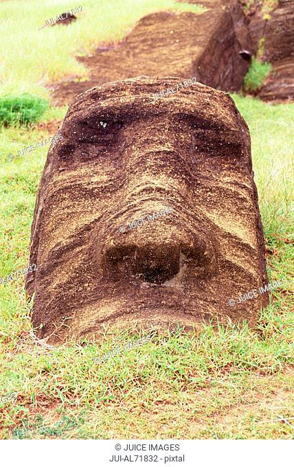 Close up of a ruined moai statue, Chile, Easter Island (Rapa Nui)