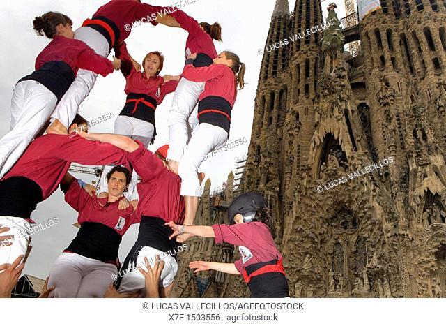 Castellers d'Esparraguera 'Castellers' building human tower, a Catalan tradition  Barcelona, Spain
