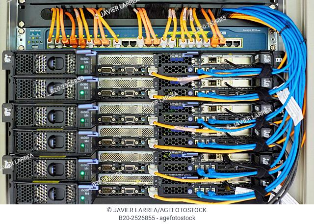 Rak servers. Computer networks. Fiber optic network