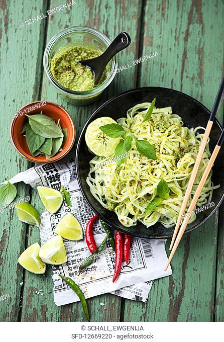 Rice noodles with coriander pesto