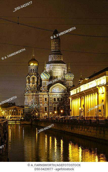 St Petersburg, Russia Savior on the Spilled Blood church from the 1880s