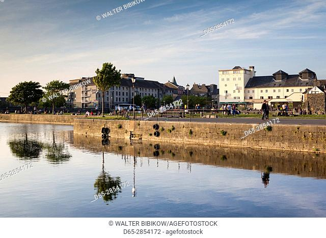 Ireland, County Galway, Galway City, River Corrib reflection at the Canal Basin, dusk