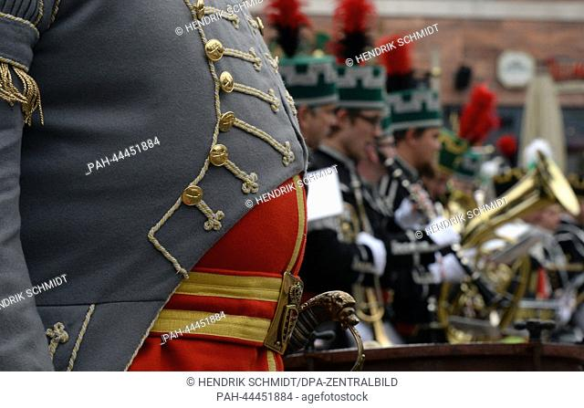 Miners in a marching band take part in the first Miners' Parade in Chemnitz,Germany, 30 November 2013. More than 650 people in traditional costume accompanied...