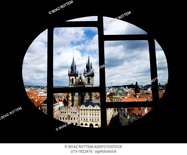 The church of the lady before Tyn as seen from the clock tower in the old town sq  in Prauge