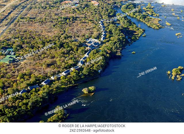 Aerial view of The Royal Livingstone Hotel on the edge of the Zambezi River. Zambia