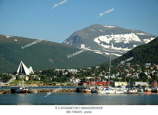 Harbour, bridge and arctic cathedral, Tromsoe, Norway