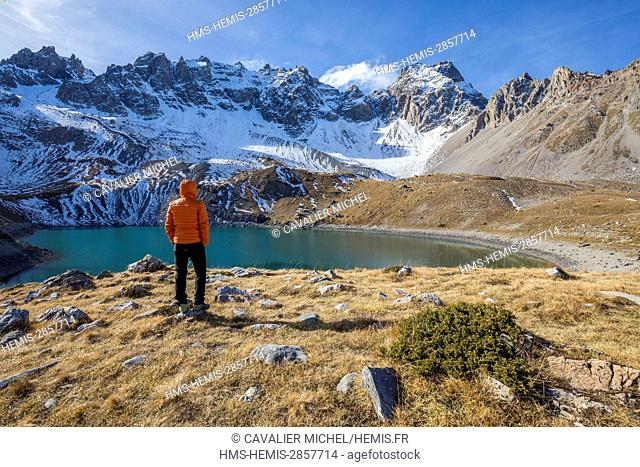 France, Hautes Alpes, regional natural reserve of Queyras, Ceillac, the lake saint Anne (2415m) dominated by the Peaks of Font Sancte (3385m)