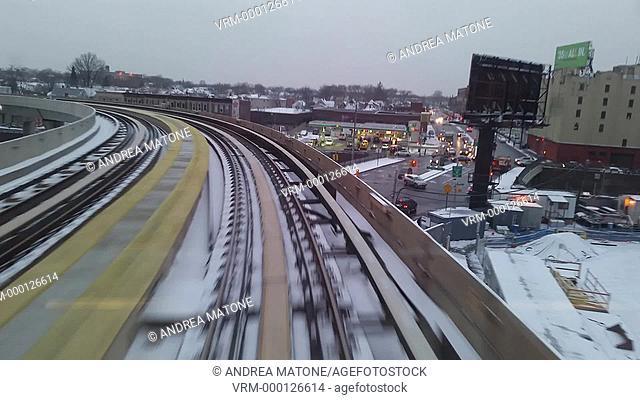 Train ride to the JFK airport. New York. USA