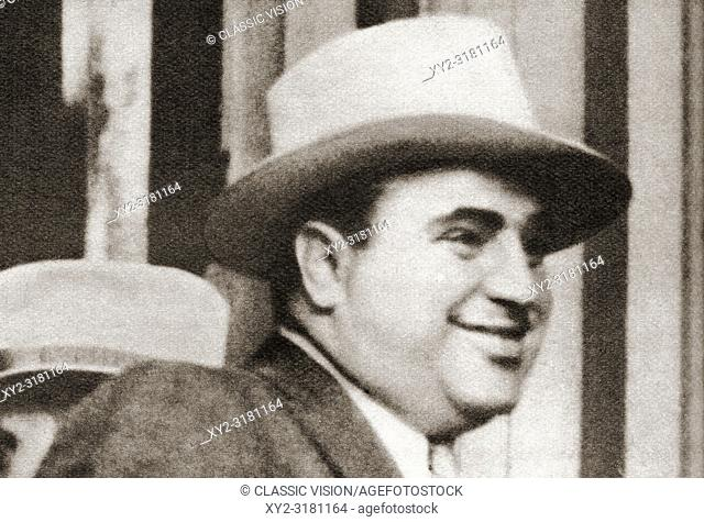 """Alphonse Gabriel Capone, 1899-1947, sometimes known by the nickname """"""""Scarface"""""""". American gangster and businessman. From These Tremendous Years, published 1938"""