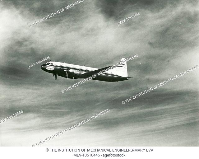 Canadian Convair 540 short medium range airliner in flight