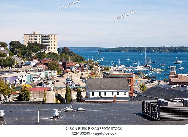 Marina on the shoreline of Casco Bay near downtown Portland, Maine
