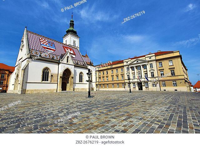 St. Mark's Church and the Croatian Parliament in St. Mark's Square in Zagreb, Croatia