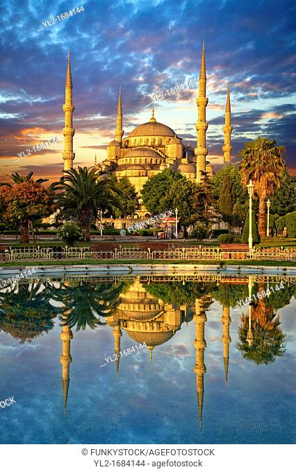 Sunset over the Sultan Ahmed Mosque Sultanahmet Camii or Blue Mosque, Istanbul, Turkey  Built from 1609 to 1616 during the rule of Ahmed I