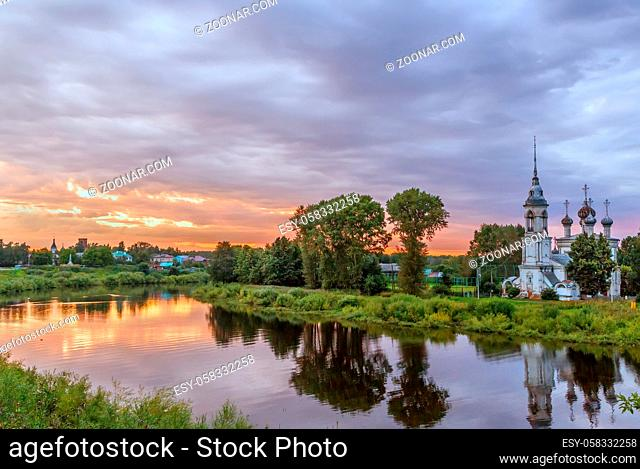 Landscape of Vologda river with Presentation of Jesus Church, Vologda, Russia. Sunset