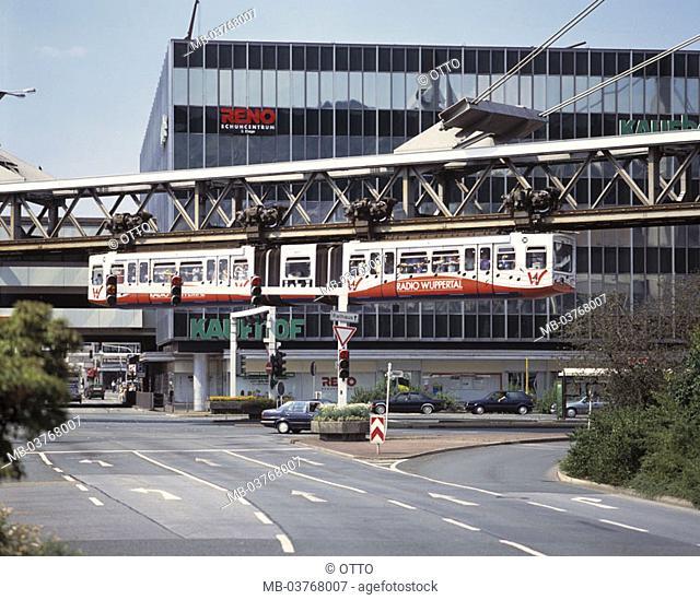 Germany, North Rhine-Westphalia, Wuppertal, shopping center, street, Schwebebahn Europe, Bergisches country, city, street scene, track traffic, high track
