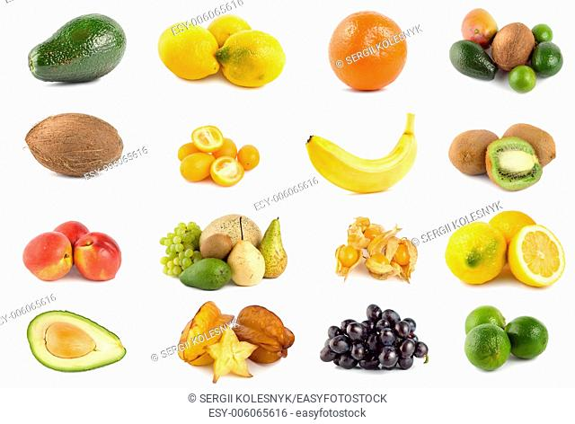 Collage of tropical fruits isolated on a white background
