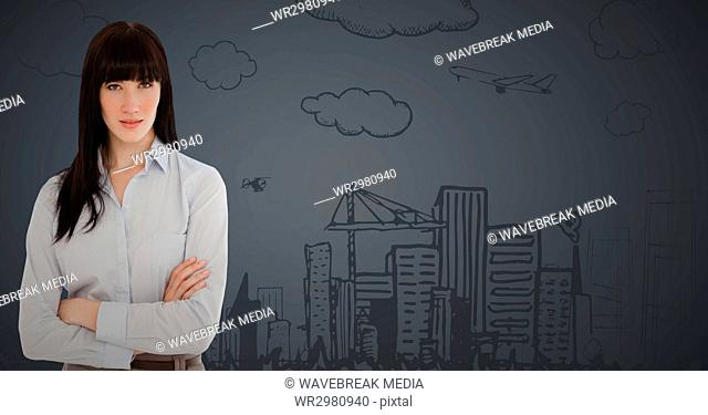 Business woman arms folded against 3d grey background with city doodle