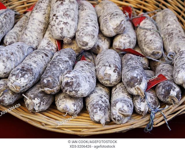 sausage for sale in a market, Sarlat-la-Caneda, Dordogne Department, Nouvelle-Aquitaine, France