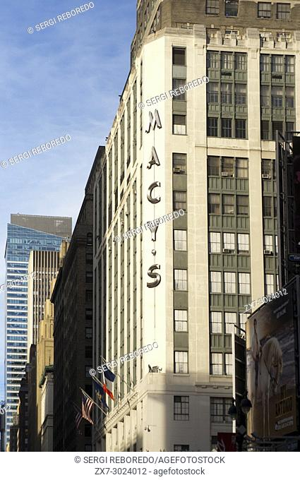 Macy's department store New York City America USA. Macys Store sign Broadway New York City in the United States of America USA